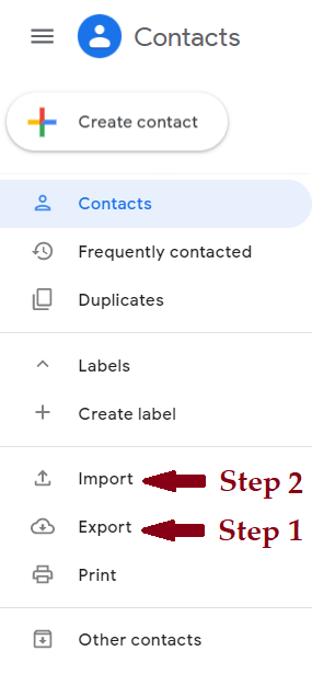 Screenshot showing where Export and Impoirt buttons are located on Contacts page