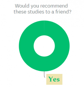 """Donut chart showing all respondents said """"yes"""" to Question about referring a friend"""