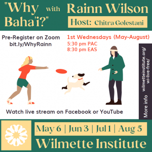 Illustration showing two young people playing with a dog, and containing dates and other details about the webinar